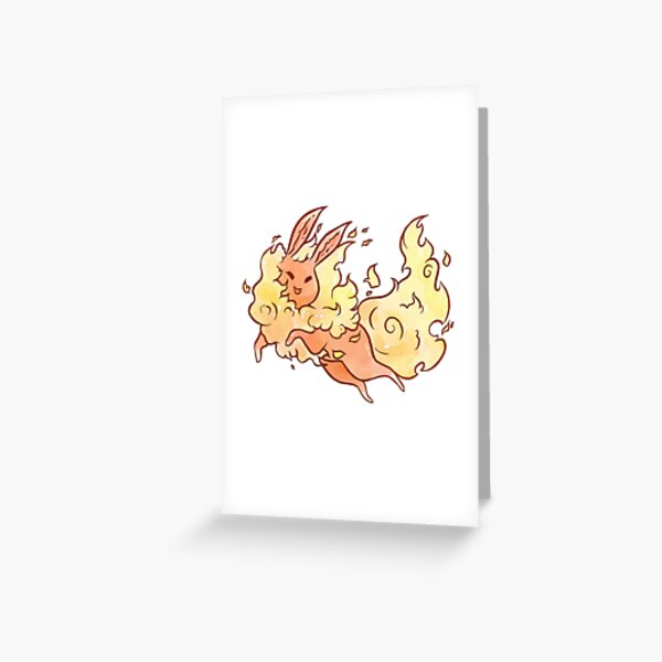 Watercolor Flareon Greeting Card