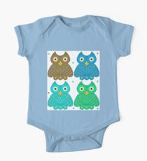 Colorful Cartoon Owl Pattern Kids Clothes