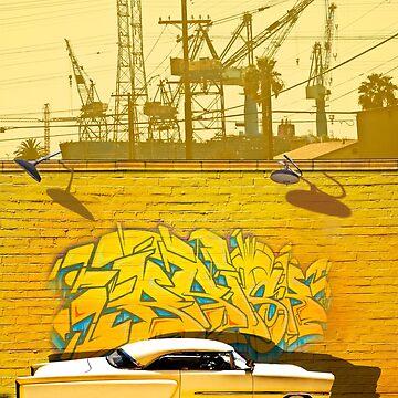 HOT ROD WITH GRAFFITTI STREET ART by theoatman