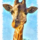 Giraffe Watercolor by Fjfichman