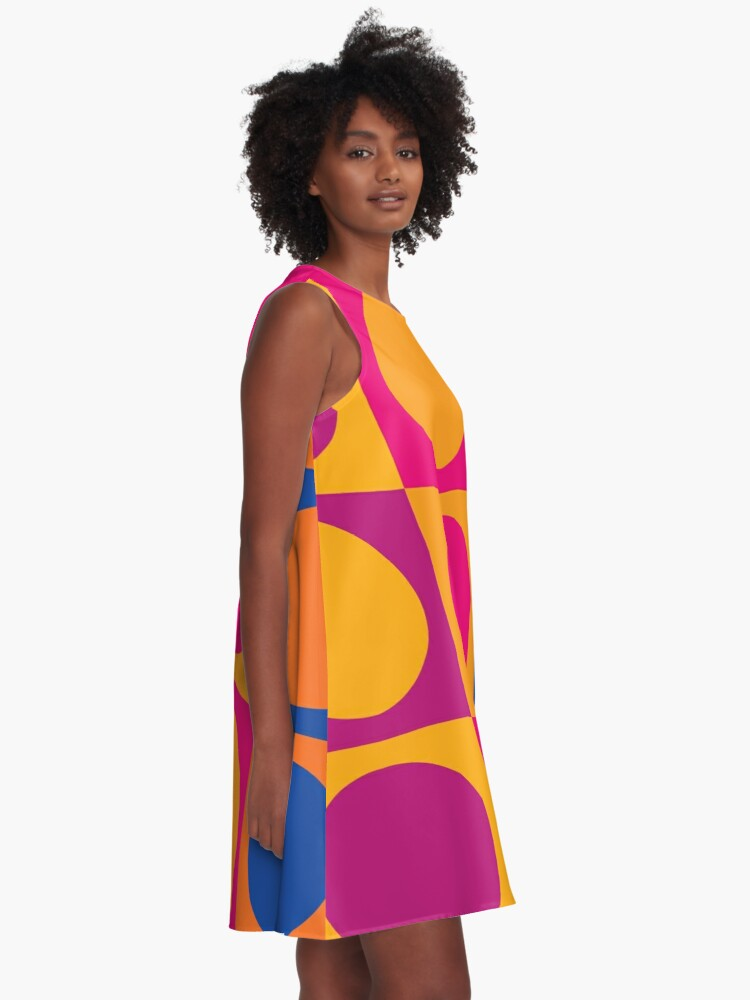 Alternate view of Retro 60s Mod Pattern A-Line Dress