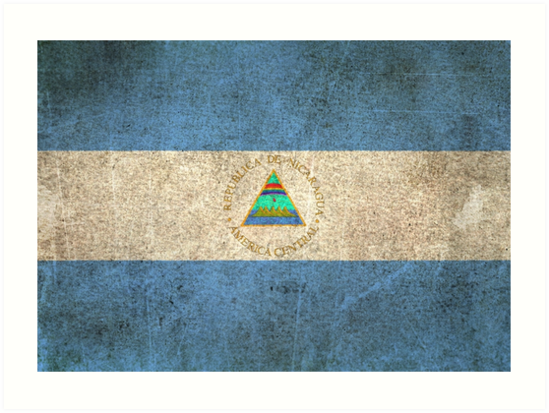 Old and Worn Distressed Vintage Flag of Nicaragua by jeff bartels
