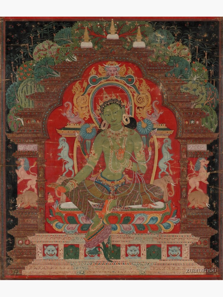 Green Tara (Khadiravani) is usually associated with protection from fear and the eight obscurations: pride, ignorance, hatred and anger,  jealousy, bandits and thieves and so on.  by znamenski