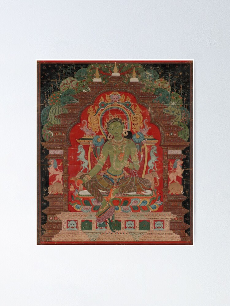 Alternate view of Green Tara (Khadiravani) is usually associated with protection from fear and the eight obscurations: pride, ignorance, hatred and anger,  jealousy, bandits and thieves and so on.  Poster