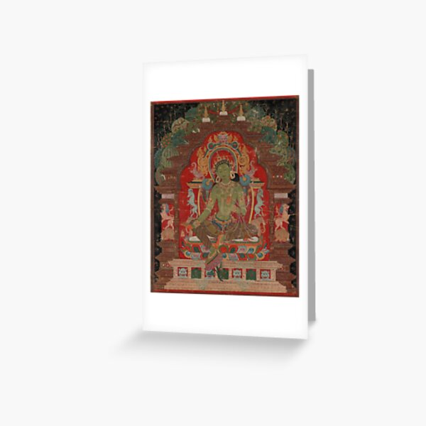Green Tara (Khadiravani) is usually associated with protection from fear and the eight obscurations: pride, ignorance, hatred and anger,  jealousy, bandits and thieves and so on.  Greeting Card