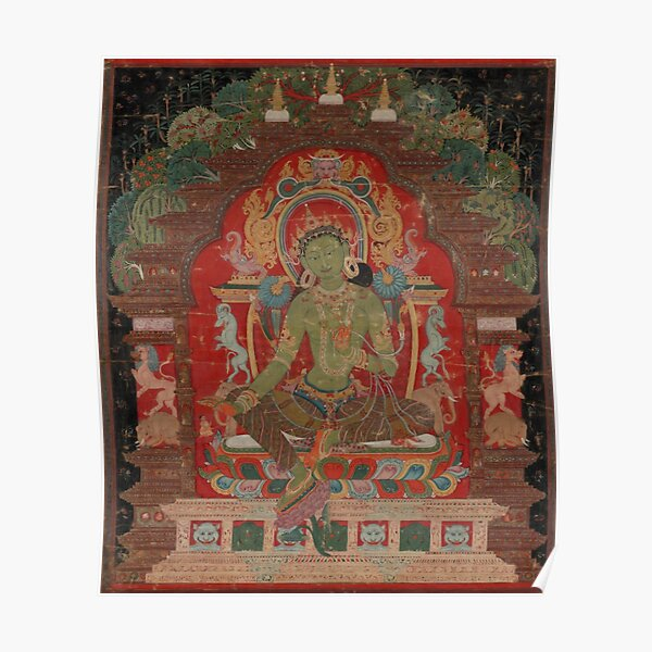 Green Tara (Khadiravani) is usually associated with protection from fear and the eight obscurations: pride, ignorance, hatred and anger,  jealousy, bandits and thieves and so on.  Poster