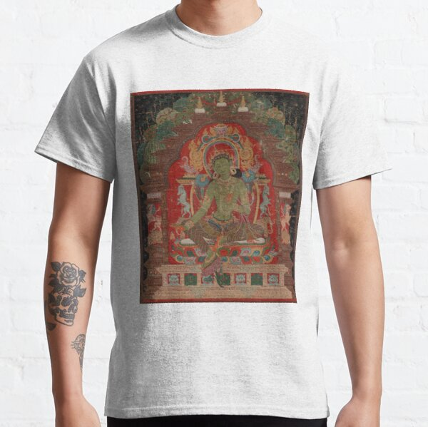 Green Tara (Khadiravani) is usually associated with protection from fear and the eight obscurations: pride, ignorance, hatred and anger,  jealousy, bandits and thieves and so on.  Classic T-Shirt