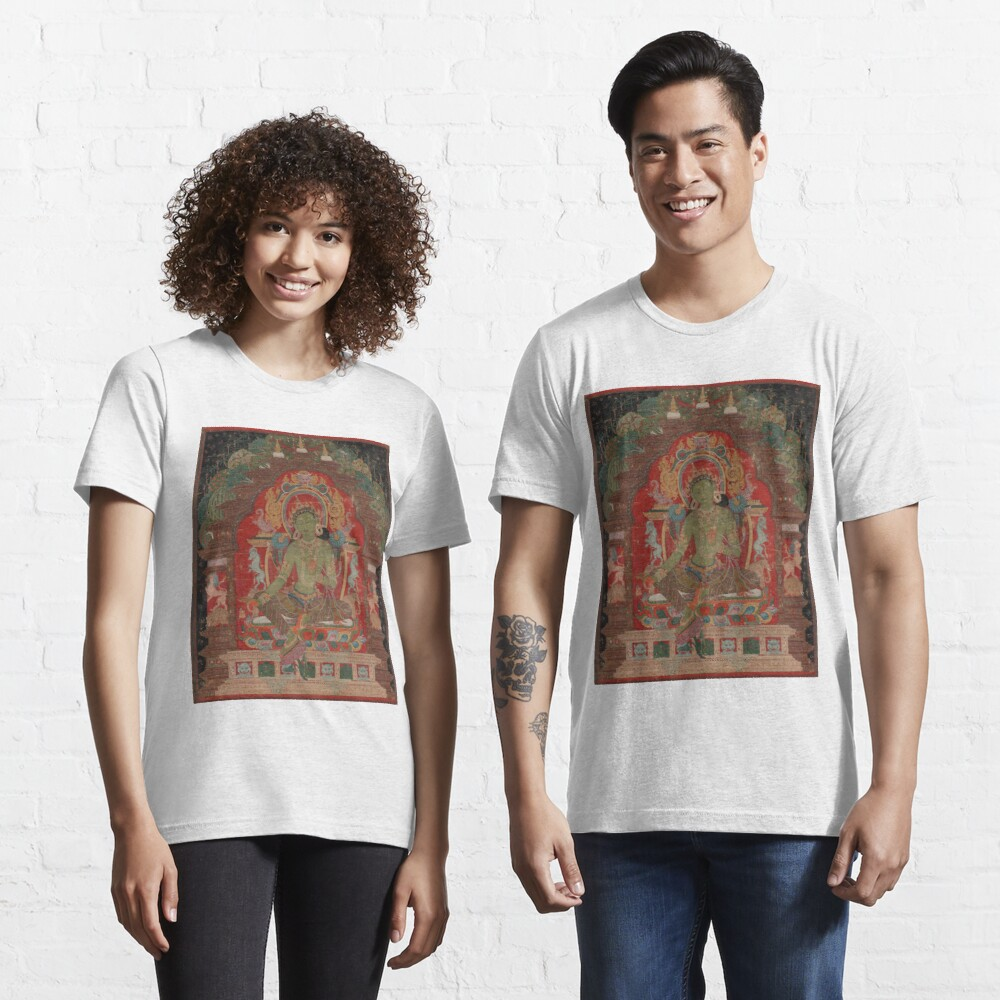 Green Tara (Khadiravani) is usually associated with protection from fear and the eight obscurations: pride, ignorance, hatred and anger, jealousy, bandits and thieves and so on. Essential T-Shirt