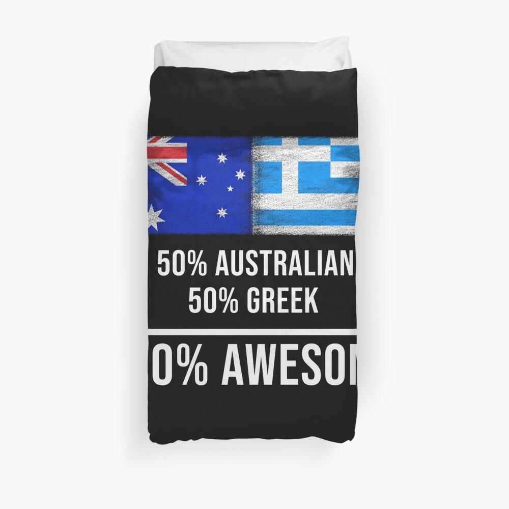 50% Australian 50% Greek 100% Awesome - Greece Flag Gift For Greek Funda nórdica