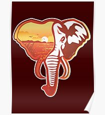 Elephant Head | Sunset Poster