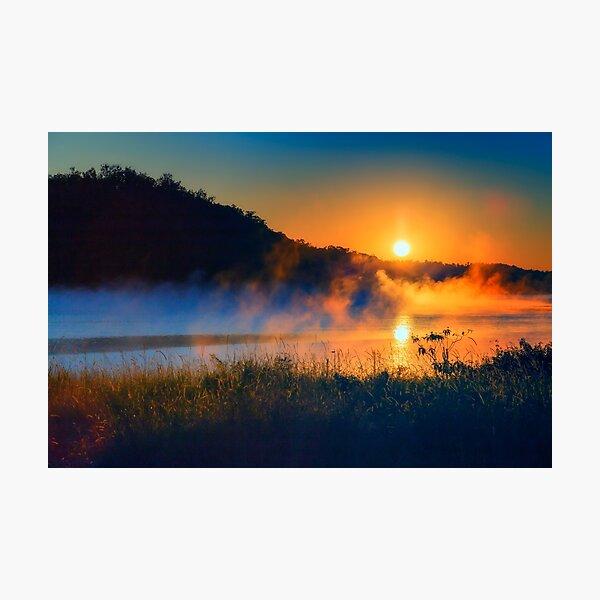 Foggy morning sunrise Photographic Print