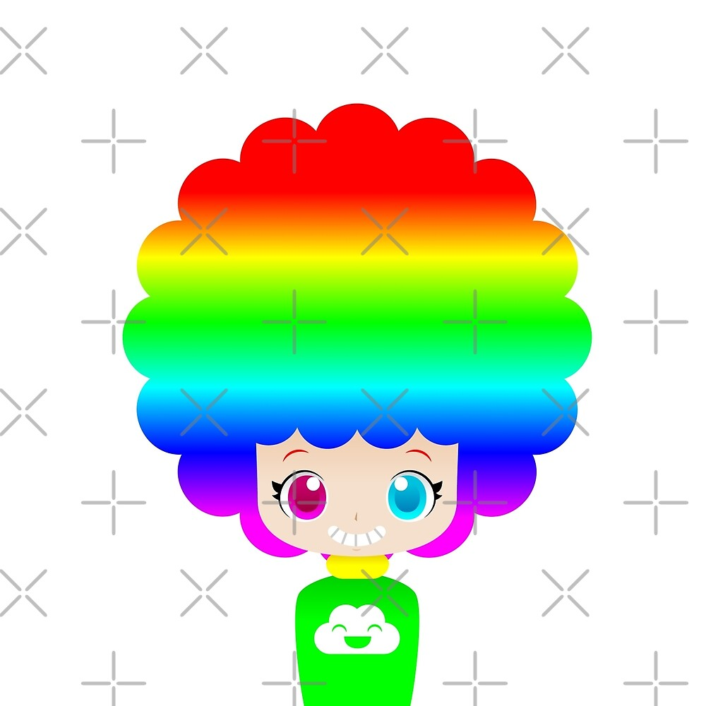 Rainbow afro girl by kittybox