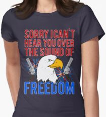 My Freedom America Guns Bald Eagles Fireworks Womens Fitted T-Shirt