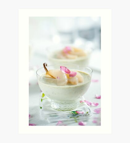Pistachio Panna Cotta with Rose Poached Pears Art Print