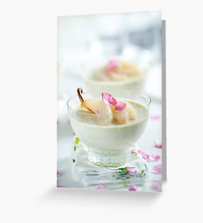 Pistachio Panna Cotta with Rose Poached Pears Greeting Card
