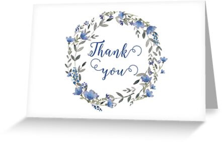Floral wreath Thank you card by irinatsy