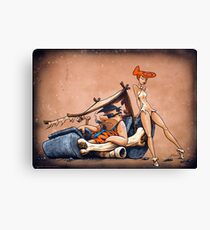 The Flintstones go Lowbrow Canvas Print