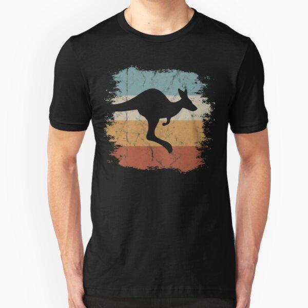 Retro springendes Känguru Old School Vintage Beuteltier Silhouette  Slim Fit T-Shirt
