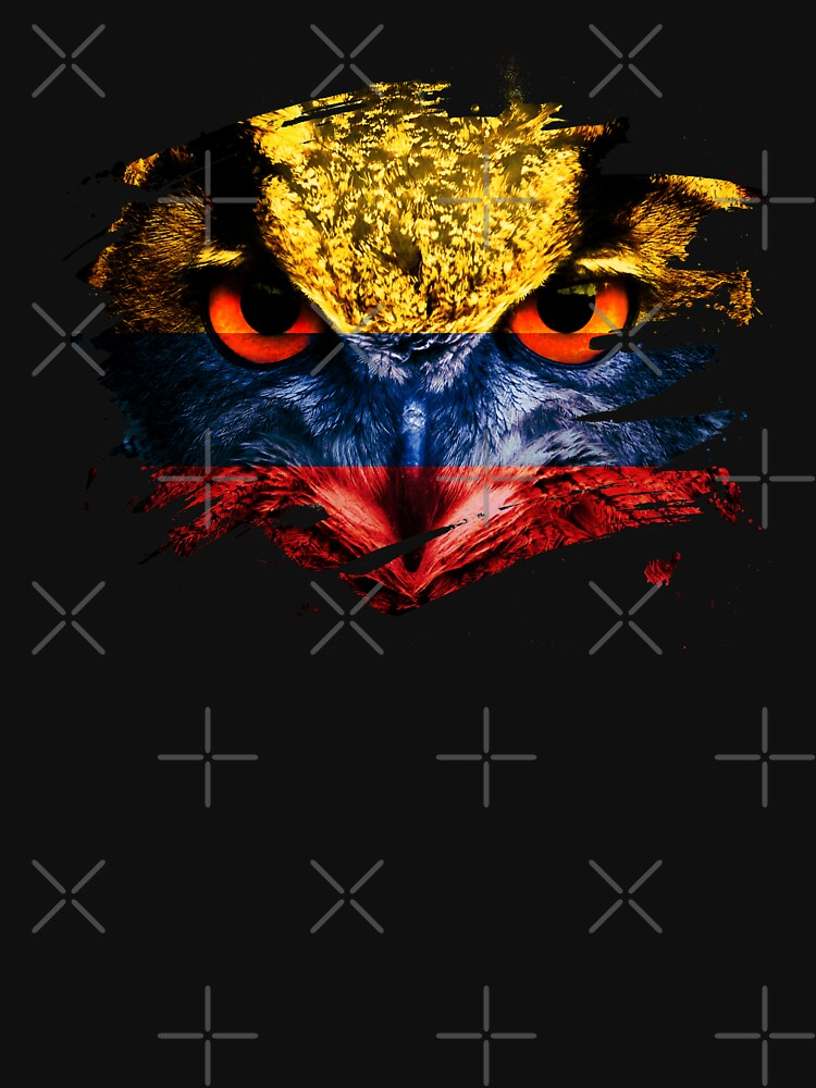 Colombia Flag and Menacing Owl by ockshirts
