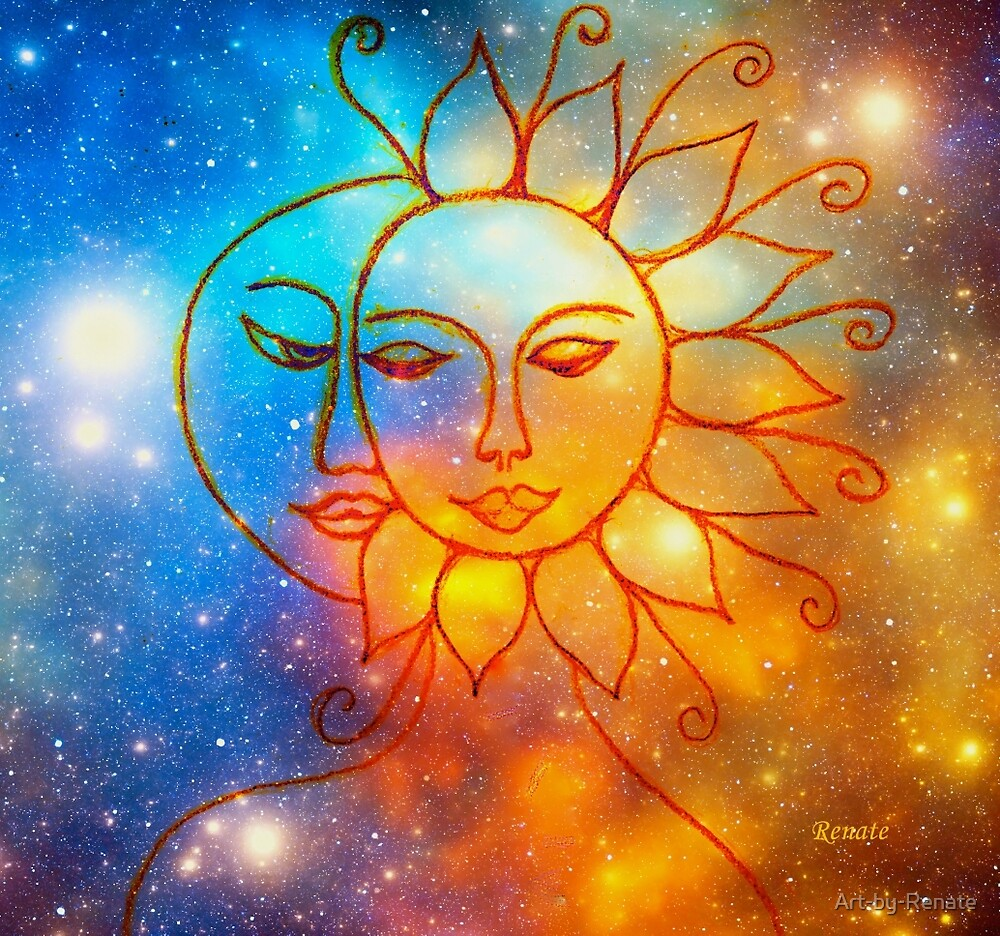 Moon do you love me asks the sun.... by Art-by-Renate