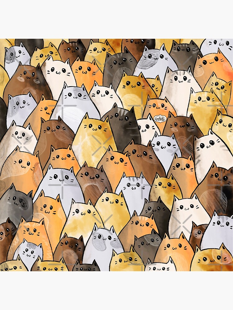Cute Kitty Cat Pattern - I Want To Pet Every Cat In The World by mydoodlesateme