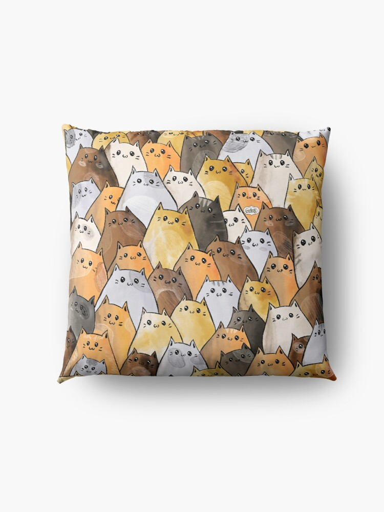Alternate view of Cute Kitty Cat Pattern - I Want To Pet Every Cat In The World Floor Pillow