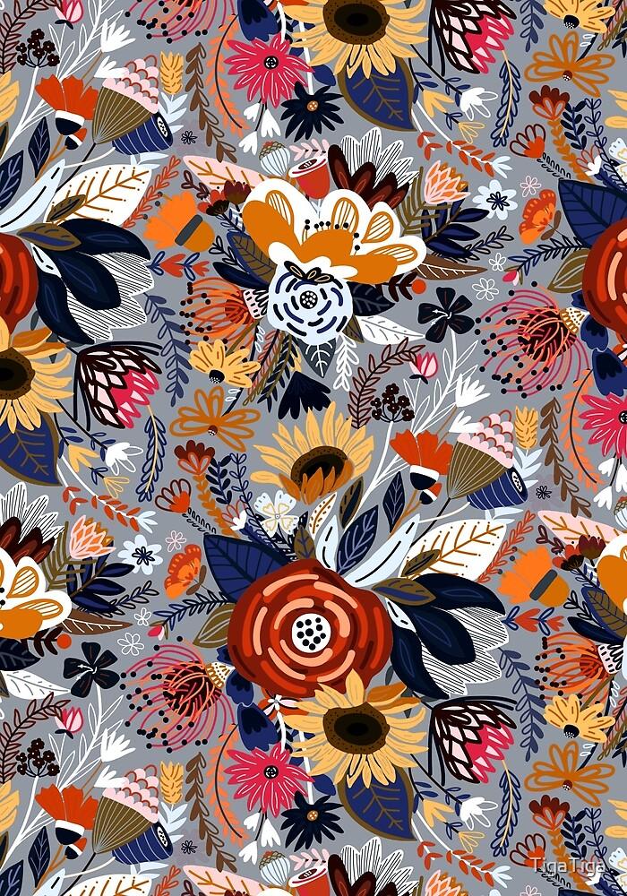 Popping Floral - Orange & Navy  by TigaTiga