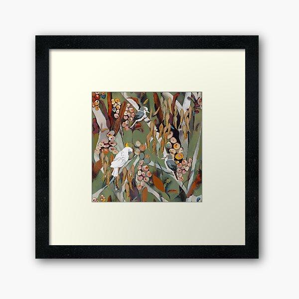 Cockatoo and kookaburra catch up Framed Art Print