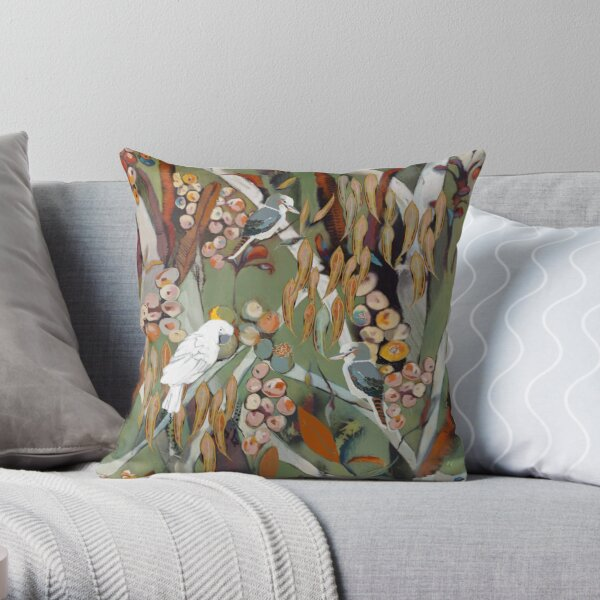 Cockatoo and kookaburra catch up Throw Pillow