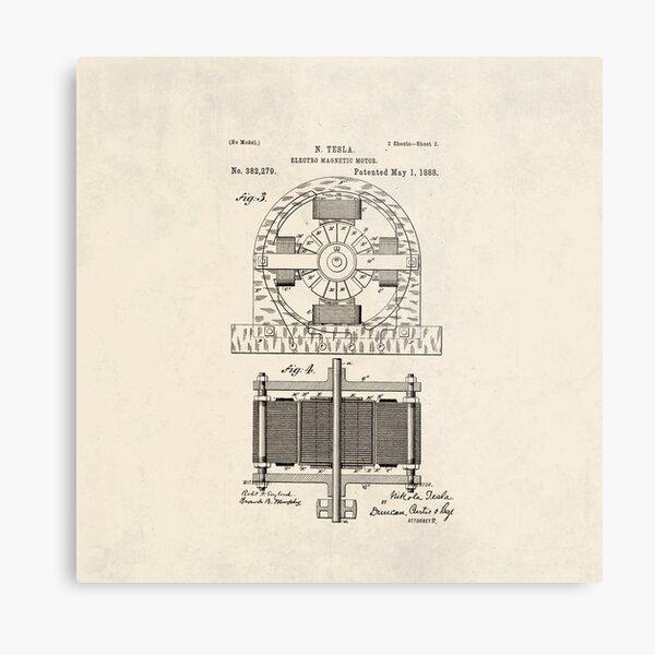 Nikola Tesla - Patent  Metal Print