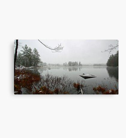 Beaver Pond - Light April Snow -- Bridgton,  Maine Canvas Print