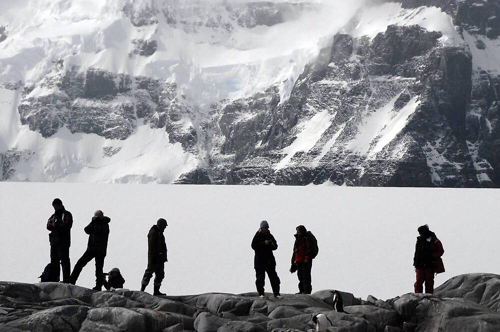Adventurers Silhouetted against an Antarctic backdrop by suebuz