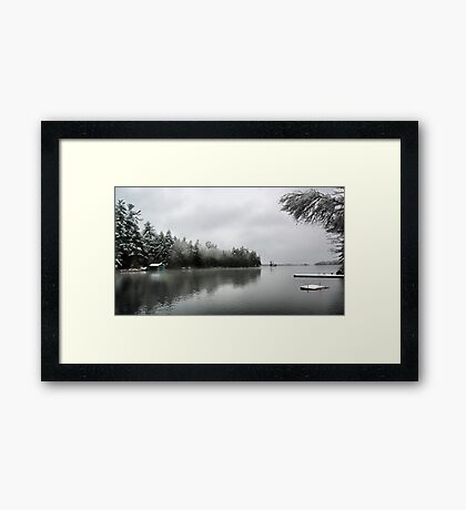 Green Boathouse - Snowy April Day -- Bridgton,  Maine Framed Print