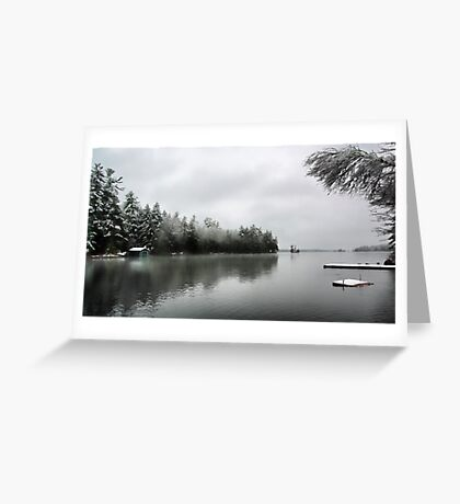 Green Boathouse - Snowy April Day -- Bridgton,  Maine Greeting Card