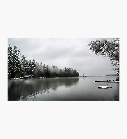 Green Boathouse - Snowy April Day -- Bridgton,  Maine Photographic Print