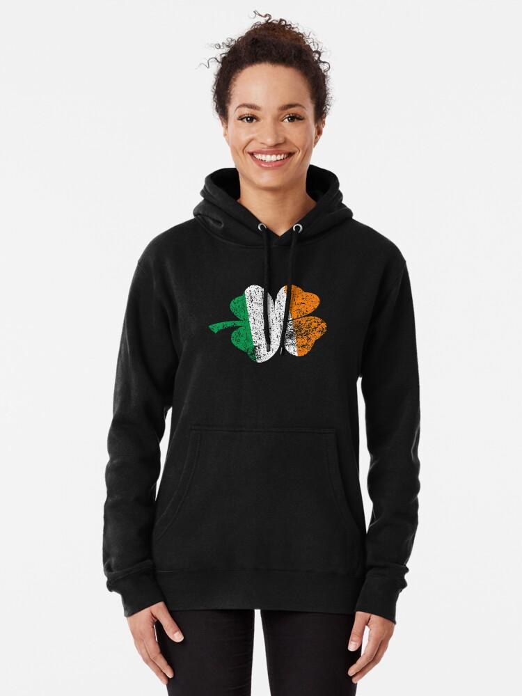 Womens Pullover Hoodie Sweater with Pockets Vintage Irish Shamrock St Patricks Day