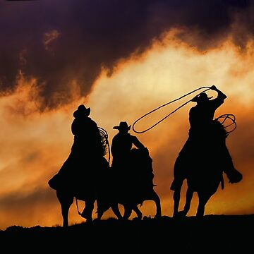 Last Call, Cowboys and Sunset Roping by LazyL