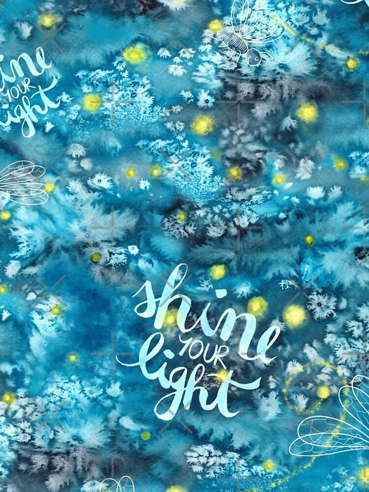 Shine your light watercolor affirmation with fireflies by nobelbunt
