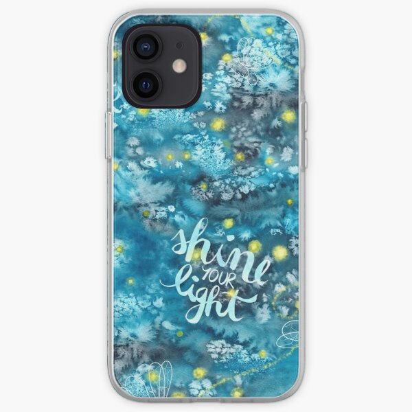 Shine your light watercolor affirmation with fireflies iPhone Soft Case