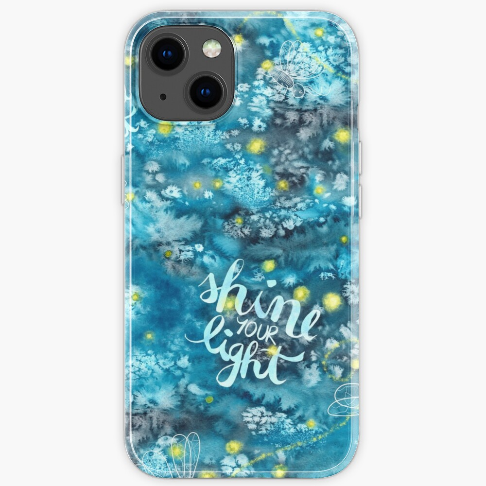 Shine your light watercolor affirmation with fireflies iPhone Case