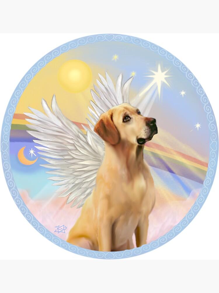 Yellow Labrador Retriever in Heavens Clouds by JeanBFitzgerald