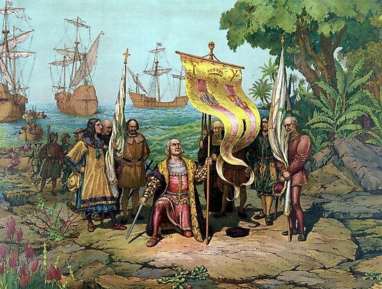 Columbus Taking Possession Of The New Country by warishellstore