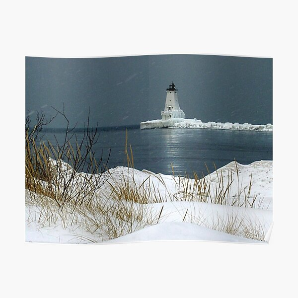 The Ludington Lighthouse in Winter Poster