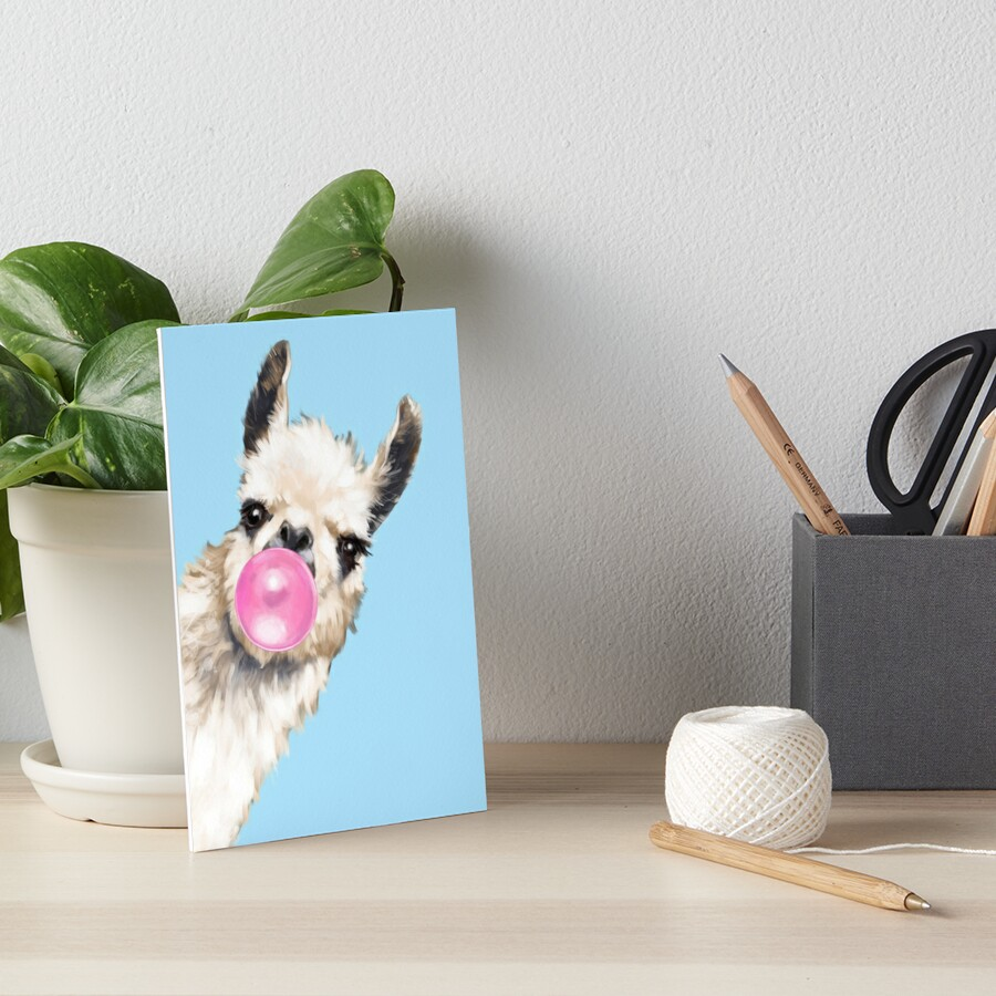Bubble Gum Sneaky Llama in Blue Art Board Print
