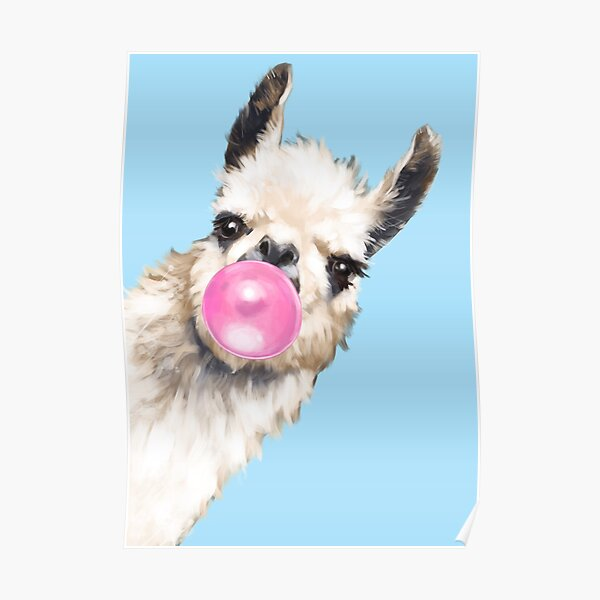 Bubble Gum Sneaky Llama in Blue Poster