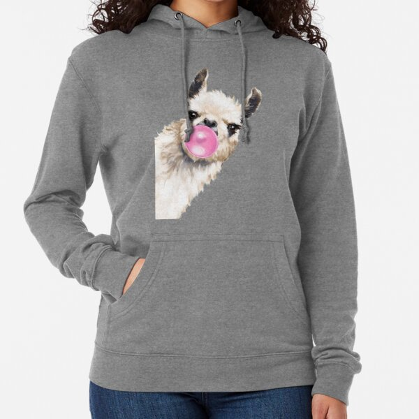 Bubble Gum Sneaky Llama in Blue Lightweight Hoodie
