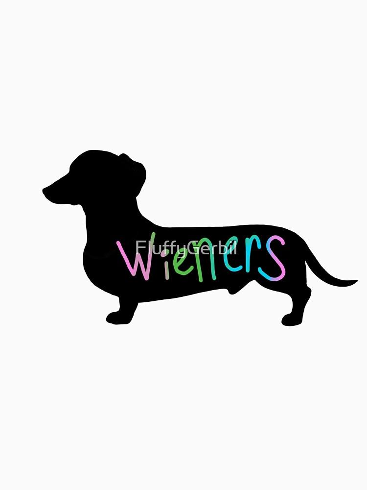 Wieners funny wiener dog dachshund silhouette rainbow by FluffyGerbil