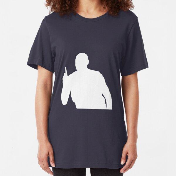 Mutombo Finger Wag - White Logo Slim Fit T-Shirt