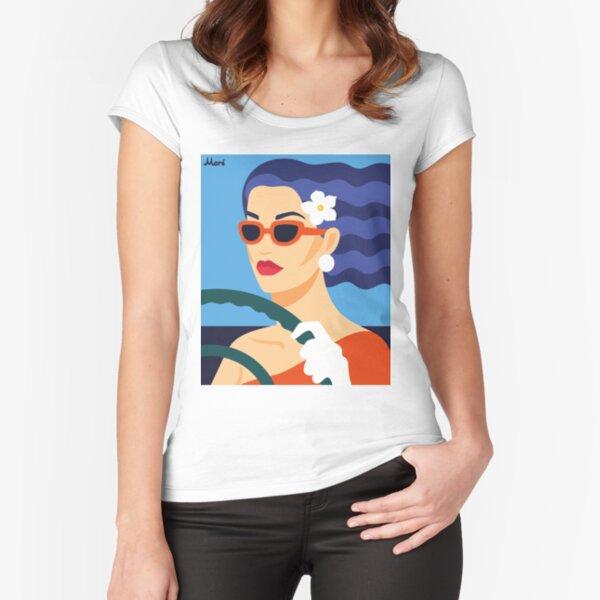 """""""Cabrio Ride"""" von Künstlerin Ekaterina Moré / Ekaterina More Tailliertes Rundhals-Shirt"""