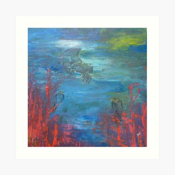 Eagle soaring high in sky Art Print